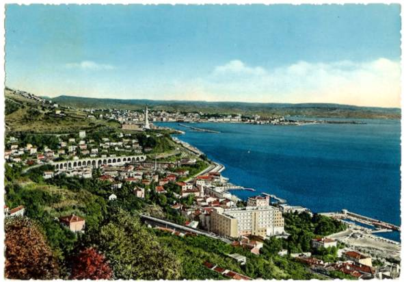 Colored Postcard Harbor Aerial View Trieste Italy 1950s