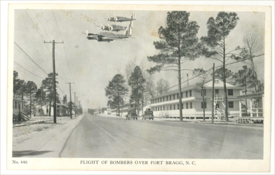 B&W Postcard Bombers Flying Over Ft Bragg NC 1940s