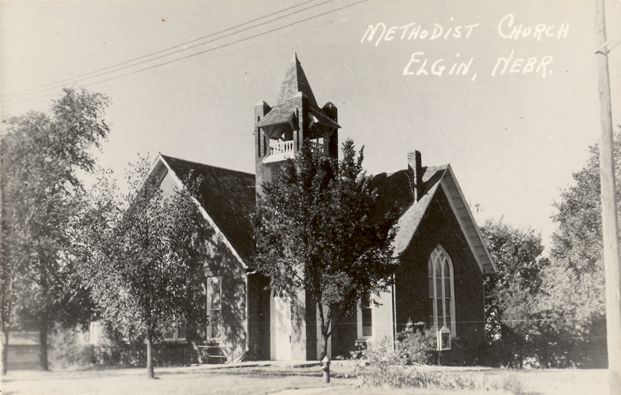 RPPC Real Photo Postcard Methodist Church Elgin, NE