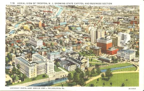 Linen Postcard Aerial View Trenton NJ Capital & Business Section