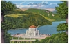 Linen Postcard Vista House Crown Point Columbia River Highway OR