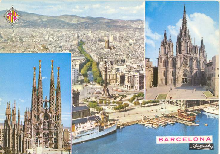 Postcard Aerial View of Barcelona Spain with two inserts