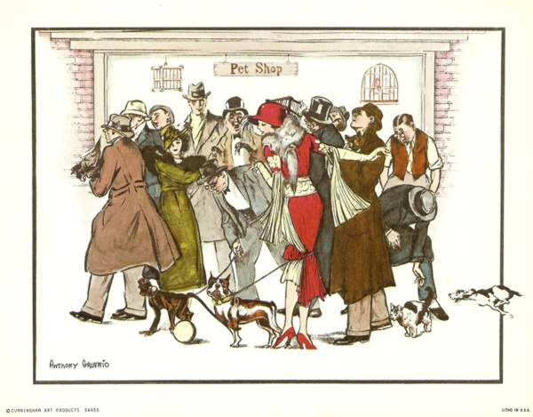 Anthony Gruerio Litho Print of People and their pets at a Pet Shop
