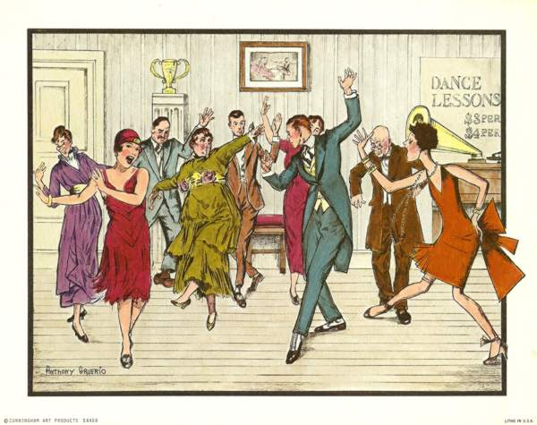 Anthony Gruerio Litho Print of Roaring 1920s Dance Lessons Scene