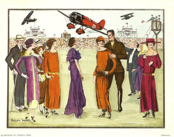 Anthony Gruerio Litho Print of People at Roaring 20s Airplane Show