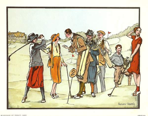 Anthony Gruerio Litho Print of People at Hole 2 on a Golf Course