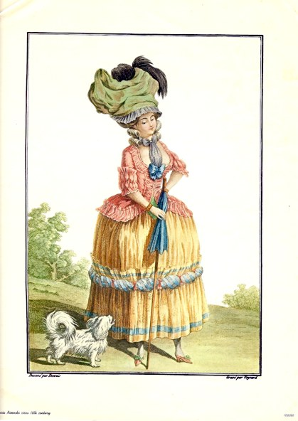 French Fashion Lady in 18th C. Costume Print by Desrais & Voysard