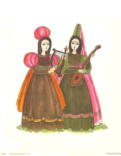 Reproduced print of two women in colorful Medieval Costumes