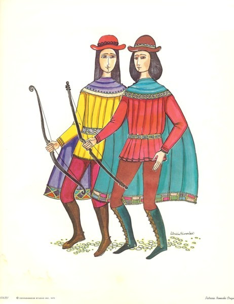Reproduced print of two men in colorful Medieval Costumes