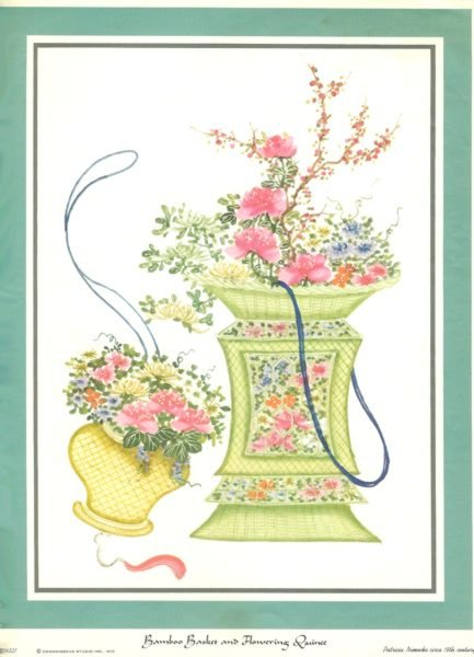 Bamboo Basket and Flowering Quince reproduced print