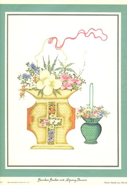 Bamboo Basket and Spring Flowers reproduced print