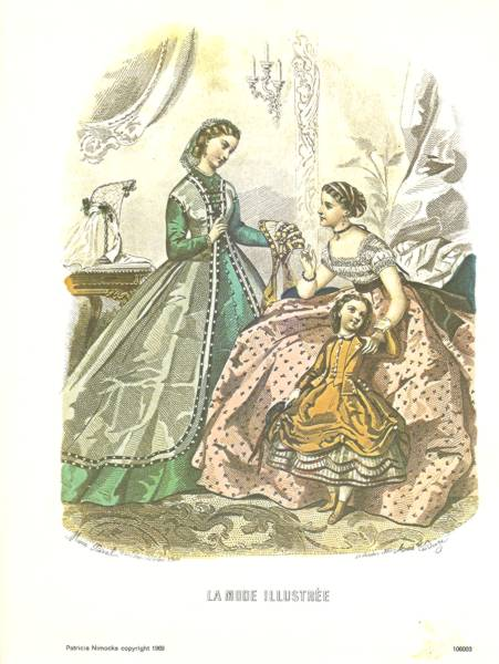 La Mode Illustree French Fashion Print of October 1865 magazine