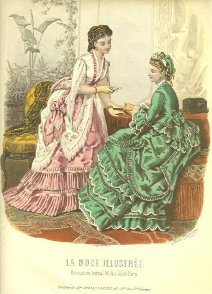 Print of Two Ladies from La Mode Illustree Magazine French Fashion